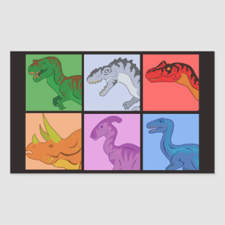 Dinosaur Squares Rectangular Sticker