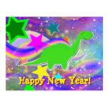 Dinosaur Stars & Swirls Happy New Year Postcard