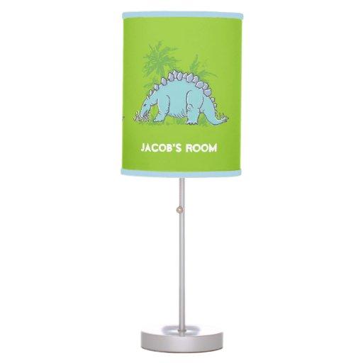 dinosaur stegosaurus green kids bedroom lamp zazzle