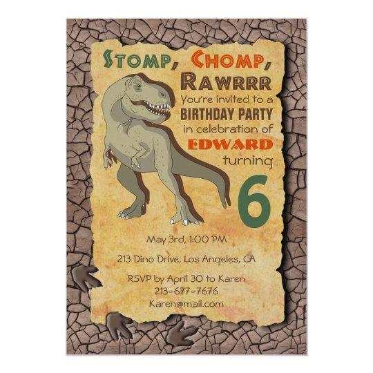 Dinosaur T Rex Birthday Party Invitation