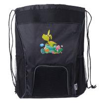 Dinosaur T-Rex Bunny Easter Egg Funny Gifts Drawstring Backpack