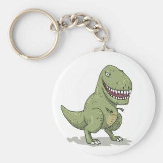 Dinosaur T Rex Cartoon Basic Round Button Keychain
