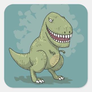 Dinosaur T Rex Cartoon Square Sticker