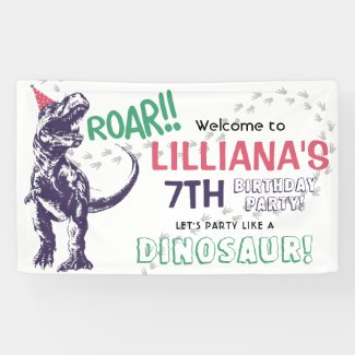 Dinosaur T-Rex Girls Birthday Party Welcome Banner