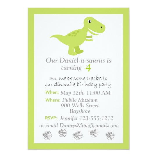 Dinosaur T Rex Kids Birthday Invitation Customize