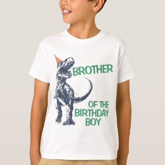 Dinosaur T-Rex Party Hat Brother of Birthday Boy T-Shirt