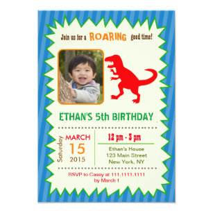 Dinosaur T REX Photo Birthday Invitations