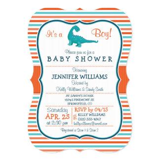 Dinosaur; Teal & Orange Stripes Baby Shower 5x7 Paper Invitation Card