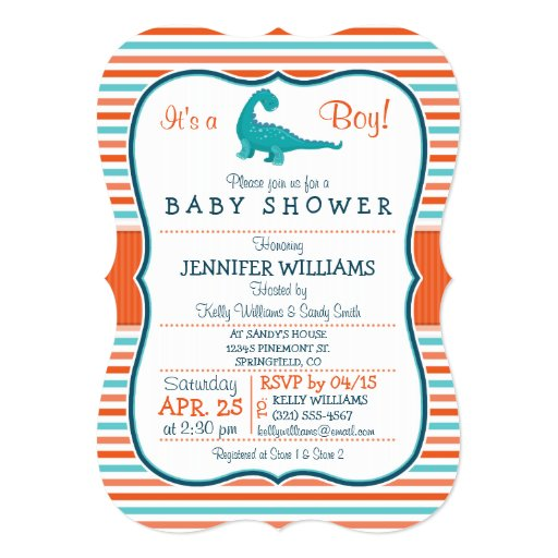 Dinosaur; Teal & Orange Stripes Baby Shower 5x7 Paper Invitation Card | Zazzle