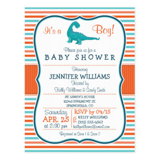 Dinosaur; Teal & Orange Stripes Baby Shower Postcard