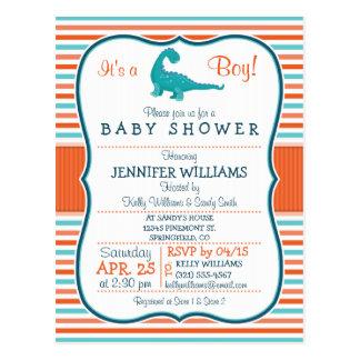 Dinosaur; Teal & Orange Stripes Baby Shower Postcard