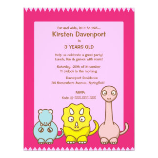 Dinosaur Theme Girl s Birthday Party Invitation