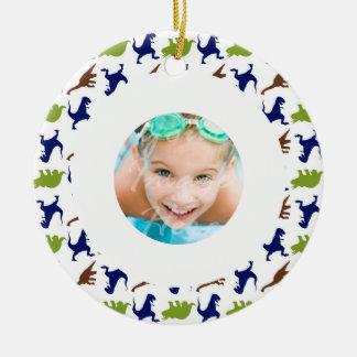 Dinosaur Theme Pattern Custom Photo Ceramic Ornament