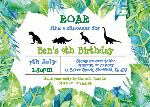 Dinosaur Themed Birthday Party Invitation