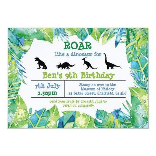 Dinosaur Themed Birthday Party Invitation Zazzle Com