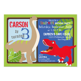 Dinosaur Third Birthday Invitation Card