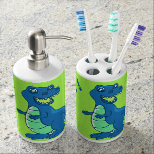 Tumbler one Set Soap Dish Gesteh Cartoon dianosaur Bath Accessory Set Toothbrush Holder Soap Dispenser Pump