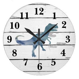 Dinosaur Trex Decor Rustic Shiplap Large Clock
