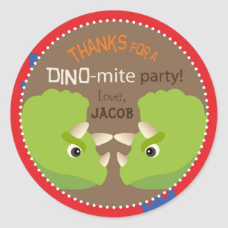 Dinosaur Triceratops Birthday Cupcake Topper Label Classic Round Sticker