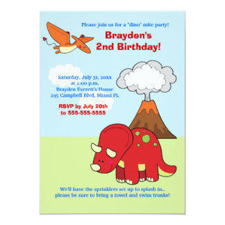 Dinosaur Triceratops Custom Birthday Invitation