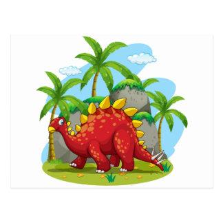 Dinosaur walking in the field postcard