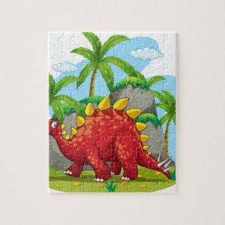 Dinosaur walking in the field jigsaw puzzle