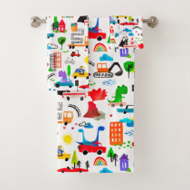 Dinosaur Watercolor Busy City Kids Cars Trucks Bath Towel Set