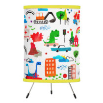 Dinosaur Watercolor Busy City Kids Cars Trucks Tripod Lamp