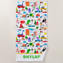 Dinosaur Watercolor Busy City Personalized Beach Towel