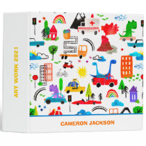 Dinosaur Watercolor Busy City Personalized Kids  3 Ring Binder