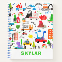 Dinosaur Watercolor Busy City Personalized Kids Notebook