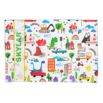 Dinosaur Watercolor Busy City Personalized Kids Pillow Case