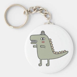 Dinosaur Wearing Hat Basic Round Button Keychain