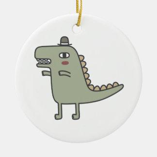 Dinosaur Wearing Hat Ceramic Ornament