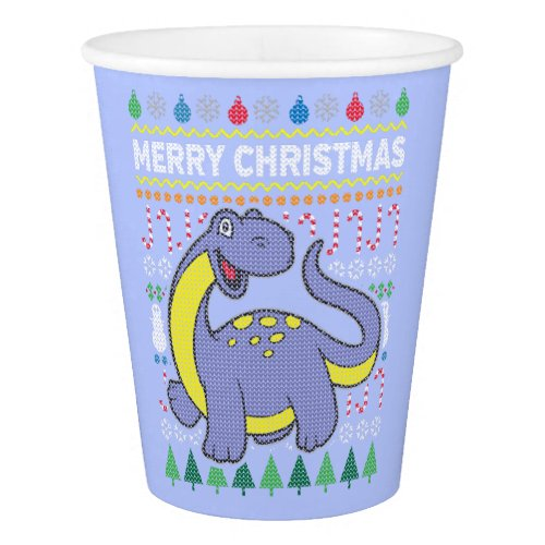 Dinosaur Wildlife Merry Christmas Ugly Sweater Paper Cup