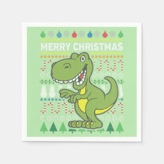 Dinosaur Wildlife Merry Christmas Ugly Sweater Paper Napkin
