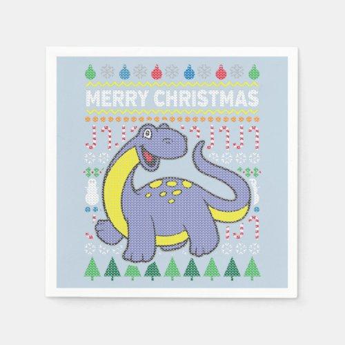 Dinosaur Wildlife Merry Christmas Ugly Sweater Paper Napkin