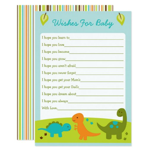 Dinosaur Wishes For Baby Card