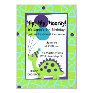 Dinosaur with Balloons and a Party Har Card