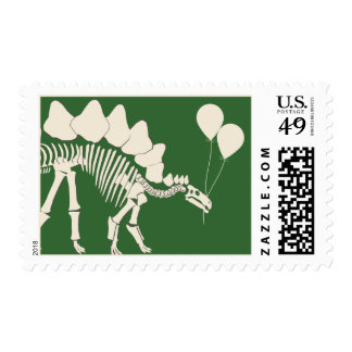 Dinosaur with Balloons Postage Stamp