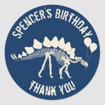 Dinosaur with Balloons Thank You Classic Round Sticker