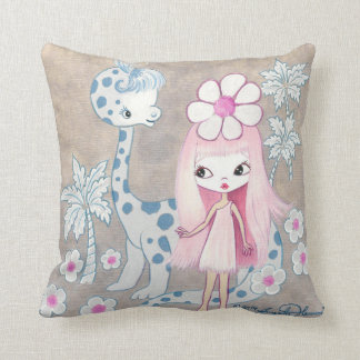 Dinosaur with Cavegirl Throw Pillows