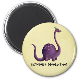 Dinosaur with Mustaches 2 Inch Round Magnet