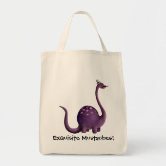 Dinosaur with Mustaches Tote Bags