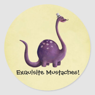 Dinosaur with Mustaches Classic Round Sticker