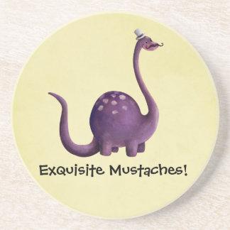 Dinosaur with Mustaches Beverage Coaster
