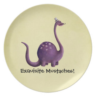 Dinosaur with Mustaches Dinner Plate