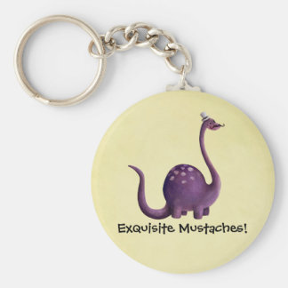 Dinosaur with Mustaches Key Chain