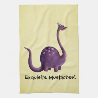 Dinosaur with Mustaches Towels