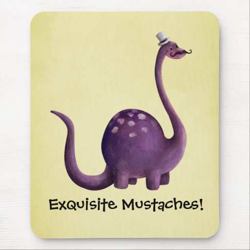 Dinosaur with Mustaches Mouse Pad